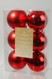6er Set Weihnachtskugeln Kunststoff Rot 8cm