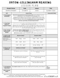 Orton Gillingham Sequence Chart Orton Gillingham Lesson Plan Template Teachers Pay Teachers