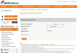icici generate atm card or credit card pin generate icici bank credit or debit card