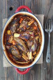 Mediterranean Style Wine Braised Lamb Shanks With Vegetables The