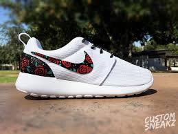 Nike Roshe Run Cool Designs Womens Custom Nike Roshe Run Sneakers Rose Gold Design Red