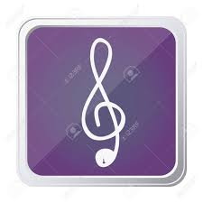 Button Of Sign Music Treble Clef With Background Purple And Hand