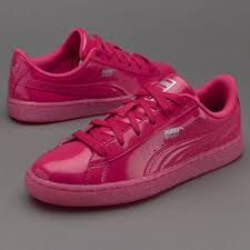 girls shoes puma junior basket patent iced glitter beetroot purple beetroot purple 362461 01