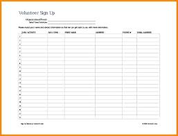 Volunteer Sign Up Sheet Template Qoopon Co