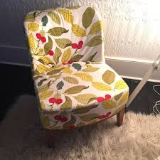 ikea stockholm easy chair armchair leaf pattern fabric and wooden legs great