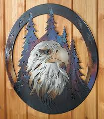 eagles in the trees metal wall art