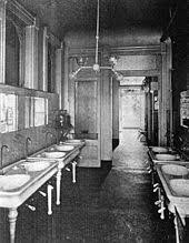 gas lighting in homes. this hospital lavatory could be lit by a dual gas and electric fixture (new orleans, 1906) lighting in homes
