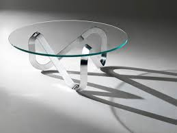 contemporary coffee table  glass  round  libra by claus bertram