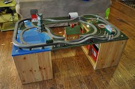 Train Set Table With Drawers Home Made Thomas Train Table With Ikea Storage Bins As Legs