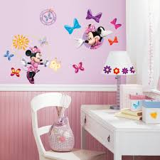 Mickey And Minnie Mouse Bedroom Decor Roommates Mickey And Friends Minnie Bow Tique Peel And Stick Wall