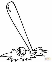 Baseball Bat And Ball Coloring Page Free Printable Coloring Pages