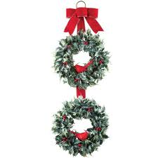 Lighted Holiday Bow Buy Holiday Christmas Cardinal Holly Double Wreath With