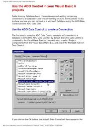 Microsoft Chart Activex Control Using The Ado Control In Your Visual Basic 6 Projects John