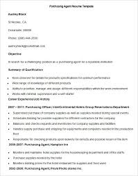 Sample Purchasing Agent Resume Template