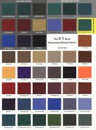 Pool Table Felt Colors Chart