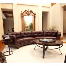 fabulous brown leather curved sectional sofa with oval coffee table and side table for living room ideas