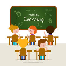 classroom table vector. classroom background with students learning table vector