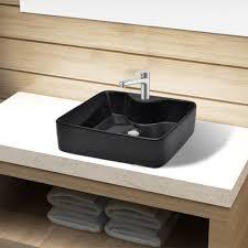 image is loading vidaxl bathroom sink basin countertop black ceramic faucet