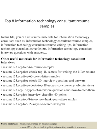 It Consultant Resume Sample Top 8 Information Technology Consultant Resume Samples