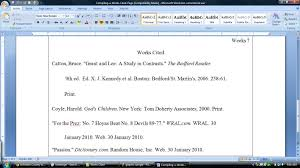 Purdue Mla Works Cited Format Below Mla Works Cited Page Example