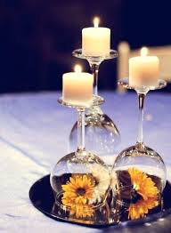 wine glass centerpieces for weddings used as candle holder put a flower or decoration under wedding