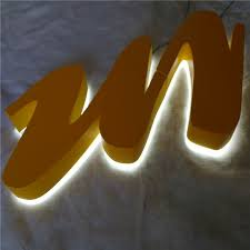 outdoor stainless steel led lighting signs waterproof halo lit name letters backlit signages