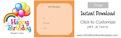 Free Printable Gift Certificates Template Free Birthday Gift Cards Free Birthday Gift Certificate Template