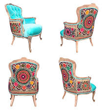 french bergere wing back chairtufted ons accent chair aqua blue velvet vintage silk suzani embroidery upholstery colorful eclectic style