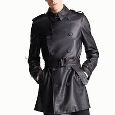 double ted men leather trench coat