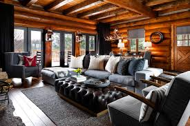 Rosseau log cabin living room rustic-living-room