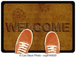 wel e cleaning foot carpet with shoeand shoe print on it stock