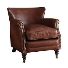 acme furniture leed top grain leather accent chair vintage dark brown on free today 17668762