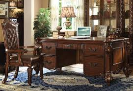 Home office furniture cherry Shaped Furniture Depot Vendome Home Office Desk 92125 In Cherry By Acme Woptions