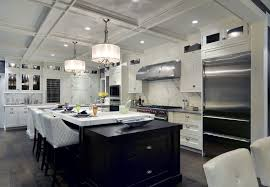 transitional kitchen lighting. Transitional Kitchen With Coffered Ceiling, Chandeliers And Stainless Steel  Appliances. Transitional Lighting