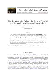 Pdf The Lifecontingencies Package Performing Financial And