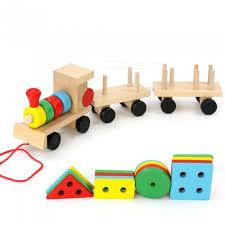 baby toys kids trailer wooden train vehicle blocks geometry colour cognitive blocks child education birthday