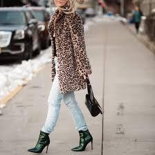 coat leopard print fur leopard print winter coat fur coat denim jeans light blue jeans boots high heels boots ankle boots metallic shoes