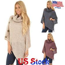 Details About Women Poncho Shawl Scarf Cape Top Knit Top Sweater Jacket Coat Knitted Cardigan