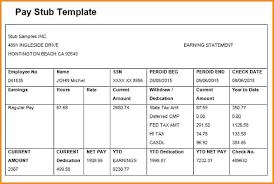 Pay Stub Excel Template Printable Check Stub Template Discopolis Club