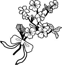 白黒の桜イラスト おしゃれ枝とリボン39652 素材good