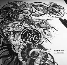 Dragon арт эскизтату тату графика чб рисунок Art Tattooart