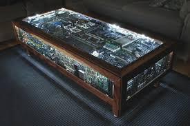 Circuit board table is geek furniture gold