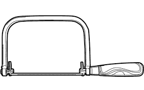 saw tool drawing. coping saw popular with artists, this simple but useful cutting tool consists of a thin blade tensioned in c-shaped frame that uses interchangeable blades drawing r