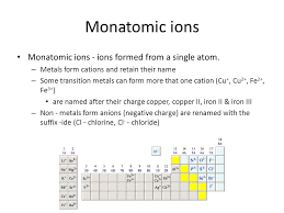 transition metals that form only one monatomic cation ionic bonds ionic compounds types of ions monatomic ions ions