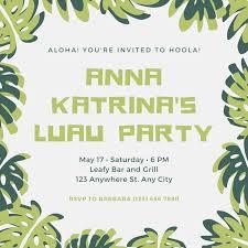 White Green Border Leaves Luau Party Invitation Templates