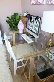 Furniture Chic Glass Computer Desk Beautiful Home Office Design
