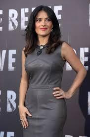 salma hayek in tight leather dress