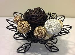 Decorative Bowl With Balls Decorative Spheres Black Rattan Vase Filler [Kitchen] 29