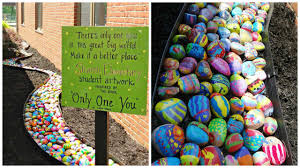 every single student paints one rock for the coolest elementary art project ever