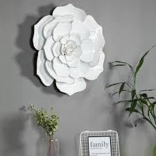 in dia metal white flower wall art